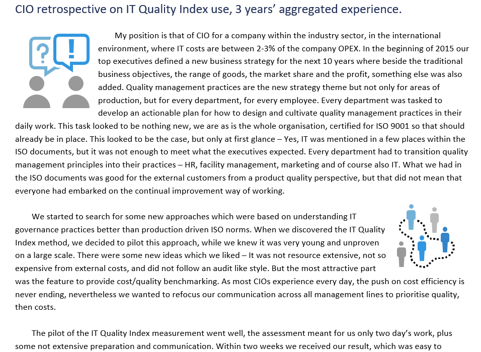 Case study IT Quality Index after 3 years