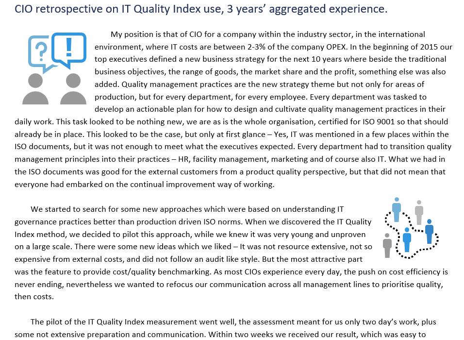 Případová studie IT Quality Index, 3 roky zkušeností